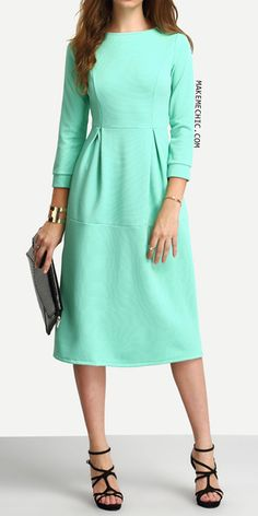 Green Half Sleeve A Line Ankle Length Dress