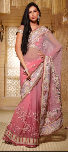 Shaded pink net saree with floral work