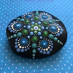 Blue and Green Stone Mandala on Black...