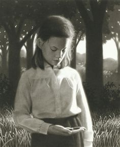 "Chris Van Allsburg - ""She knew it was time to send them back.  The caterpillars softly wiggled in her hand, spelling out 'goodbye'."""