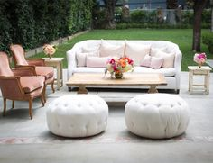 wedding or bridal shower lounge area with vintage furniture from Found Rentals