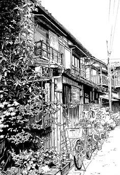 Phong cách Nhật Bản, manga,... Kí học phòng học, góc nhà, phong cảnh,...