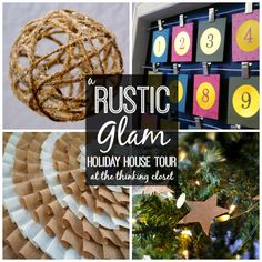 Twine, glitter, burlap, gold, paper bags, pine cones...love all the rustic glam elements in this Holiday House Tour!