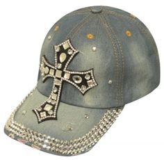 Showman Couture Blue Bling Denim Hat with Crystal Rhinestone Star