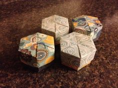 Set of 4 Origami Vintage Hexagon Boxes with Lids, $6.00