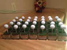 Golf ball table decorations for 50th Birthday ParTee Rons