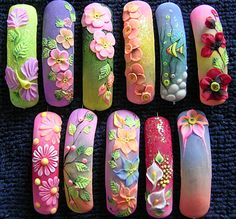 Acrylic flowers and muted tone colours. 3d Acrylic Nails, 3d Nail Art, 3d Nails, Love Nails, Beautiful Nail Art, Gorgeous Nails, Pretty Nails, 3d Nail Designs, Nail Art Designs Videos