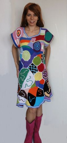 Exciting and beautiful crochet patchwork hippie dress by GlamCro