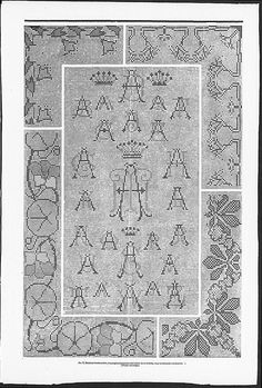 Cross stitch monograms and borders, some Art Nouveau inspired (visit site for bigger picture)  Gracieuse. Geïllustreerde Aglaja, 1902, aflevering 19, pagina 152/2