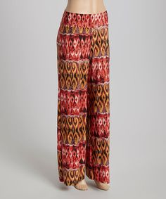 Look what I found on #zulily! Red & Gold Ikat Swirl Palazzo Pants #zulilyfinds