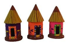kondapalli doll or kondapalli toy made in soft wood. hut set of 3 . Size in cms :  7.5 * 7.5 * 12.5