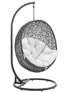 You'll ❤ The Modway Hide Outdoor Patio Swing Chair Stand Gray Poly Rattan White Cushion Wicker Swing, Egg Swing Chair, Hanging Swing Chair, Hammock Swing Chair, Swinging Chair, Swing Chairs, Hanging Chairs, Room Chairs, Bedroom Swing Chair