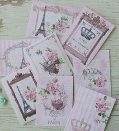 Paris notecards - Shabby cottage Chic mini French cards - Pink Paris themed notecards - embellishments by dkshopgirl, $6.00 USD