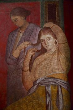 Young bride in the Roman wall painting in the Villa of the Mysteries, #Pompeii #fresco #archaeology #art #Italy