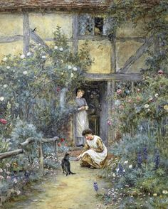"""The Saucer of Milk"", by Helen Allingham ...."