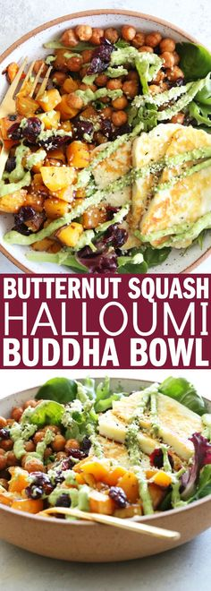 This Butternut Squash Halloumi Buddha Bowl is perfect for your #meatlessmonday dinner!! It's full of delicious, hearty vegetables and flavor! | Posted By: DebbieNet.com