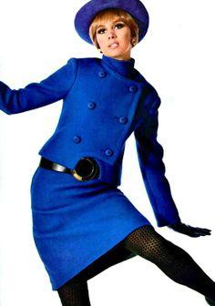 Blue skirt suit Christian Dior, L'Officiel October 1967