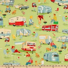 By 12 Yard Michael Miller Fabric Trailer Travel Multi ~ Camper RV Camping Retro