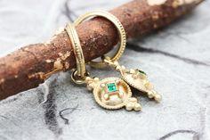 Gold Emerald Earrings Solid Gold Earrings Pendant Hoops | Etsy