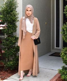 tan pencil skirt hijab look