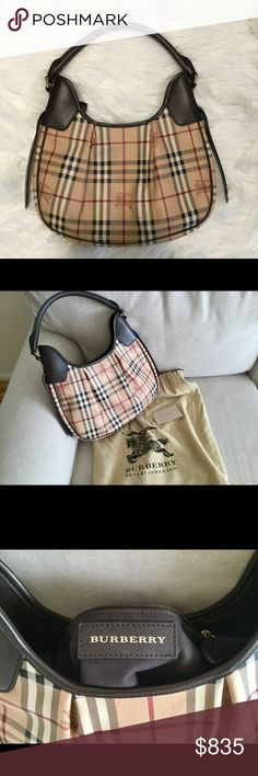 HP Burberry Hobo Burberry Haymarket Hobo in pristine condition. Single rolled leather handle. Gold tone hardware. Single top zipper and one interior zip pocket. Authenticity card and dust bag included. Burberry Bags Hobos
