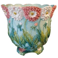 Art Nouveau Majolica Jardiniere | From a unique collection of antique and modern pottery at http://www.1stdibs.com/furniture/dining-entertaining/pottery/