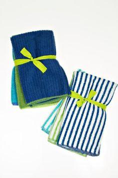 Microfiber 6 Piece Kitchen Towel Set, 3 Each Stripes and Solids - Navy/Green/Light Blue John Ritzenthaler Co