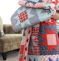 Cluck Cluck Sew-I like the blues in this red, white & blue quilt
