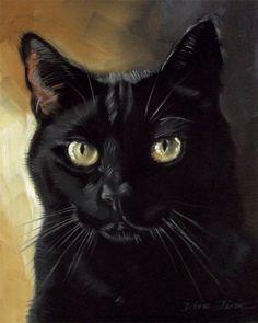 Black cat Ben, original oil painting by Diane Irvine Armitage