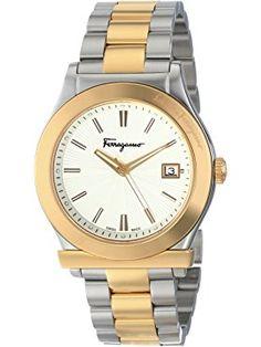 Salvatore Ferragamo Men's FF3070014 FERRAGAMO 1898 Two-Tone Stainless Steel Watch ❤ Salvatore Ferragamo Swiss Made Watches, Stainless Steel Watch, Salvatore Ferragamo