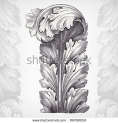 vintage engraving acanthus ornament foliage with retro pattern in antique rococo style decorative design by HiSunnySky, via ShutterStock