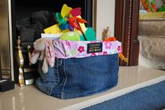Crafts with Denim | repurposed jeans - into a denim storage box