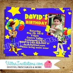 Toy Story 3 Invitations with your child photo with all the character gang. Toy Story Invitations, Birthday Invitations, Invites, Toy Story Birthday, Pop Tarts, Snack Recipes, Toys, Snack Mix Recipes, Activity Toys