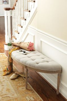 I would be tempted to put a large, tall framed mirror just above this darling bench. Louis Curve Bench I - Linen Upholstered Bench, Oak Bench, Accent Bench French Country Furniture, French Country Decorating, Unique Furniture, Home Furniture, Oak Bench, Entry Bench, Entry Hall, Curved Bench, Luxury Bedding Collections