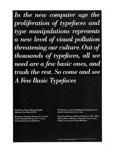 Massimo Vignelli-Few Basic Typefaces Exhibition & Poster New York, 1991 Massimo Vignelli, Graphic Design Layouts, Layout Design, Print Design, Michael Bierut, Design Observer, Handwritten Text, Publication Design, Packaging