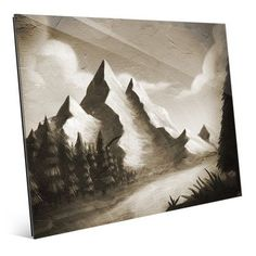 Click Wall Art 'Vintage Mountain by the River' Painting Print Size: