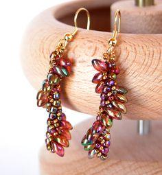 Dragon Wings earrings - designed by BeadsForever using long magatamas