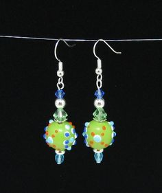 Lime Green, Aqua Blue, Cobalt Blue and Orange Dot Lampwork Glass Bead Earrings With Swarovski Crystals, Czech Glass and Metal Beads - SOLD