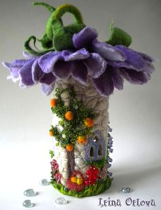 Merino Wool and Silk Hand Felted 'LAVENDER' Fairy House / Nightlight  ................................................ by Irina Orlova