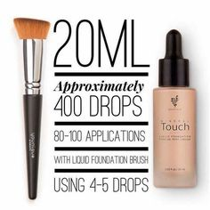 Touch Mineral Liquid Foundation: This smooth foundation goes on liquid and dries to a soft, powdery finish while optical diffusers blur imperfections and minimize wrinkles and pores. No touch-ups necessary. Each shade is also available as a corresponding Touch Mineral Concealer, Pressed Powder, and Cream Foundation.