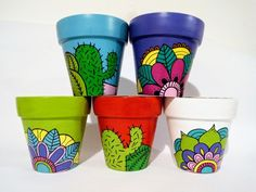 """""""Painted pots"""" by painting the pots one could decor their garden area and develop excitement in gardening Painted Plant Pots, Painted Flower Pots, Pottery Painting Designs, Paint Designs, Planting Onions, Flower Pot Art, Decorated Flower Pots, Clay Pot Crafts, Ceramic Painting"""