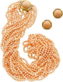 Coral Bead, Diamond And 18k Gold Jewelry Suite (Necklace And Earrings)