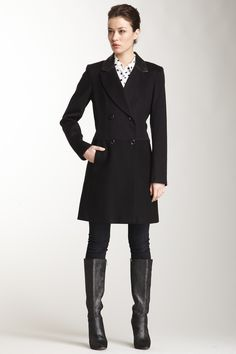 """Double Breasted Wool Blend Boyfriend Blazer Coat in navy-black by Vince Camuto $360 - $99 at HauteLook. - Notch lapel with contrast faux leather trim - Long sleeves - Button front closure - Double breasted - On-seam front pockets - Fully lined - Approx. 38"""" length Fit: this style fits true to size. Model's stats: - Height: 5'9"""" - Bust: 32"""" - Waist: 24"""" - Hips: 35"""" Model is wearing size S. Dry clean Shell: 80% wool, 20% nylon. Faux leather trim: 100% polyurethane. Lining: 100% polyester."""
