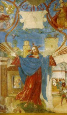 """Lorenzo Lotto - """"Cristo come Vite"""" - Al di sopra del Cristo sta la scritta, inequivocabile: """"Ego sum vitis, vos palmites"""" """"Io sono la vite, voi i tralci""""  - 1524 - affresco - Cappella Suardi - Trescore Balneario (Bergamo, Italia)"""