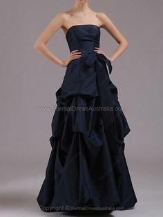 A-line Taffeta Strapless Pick-Ups Floor-length Formal Dresses -AUD$132.69