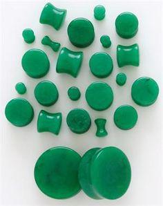 Dark Green Jade Aventurine Solid Saddle Plug Ear Plug in the smallest size please :)