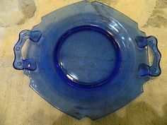 Vintage BLUE Depression Glass Hexagonal Plate with Handles