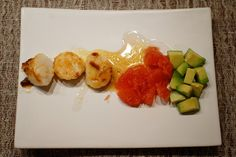Scallops with grapefruit and avocado, #seafood, #scallops