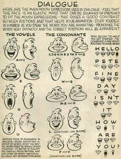 Living Lines Library: Preston Blair: Cartoon Animation Character Design Animation, Character Design References, Character Drawing, Mouth Animation, Disney Animation, 3d Animation, Disney Pixar, Preston Blair, 1930s Cartoons