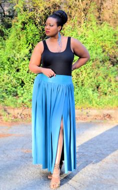 d3c048994b9 Plus Size Leather Maxi Skirt Blue   Blue Leather by SpoiledDiva